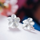 SILVERAGE Flower Cubic Zirconia Stud Earrings