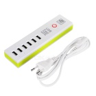 5V 30W USB 2.0 6-Port Fast Charging Charger - White + Green (EU Plug)