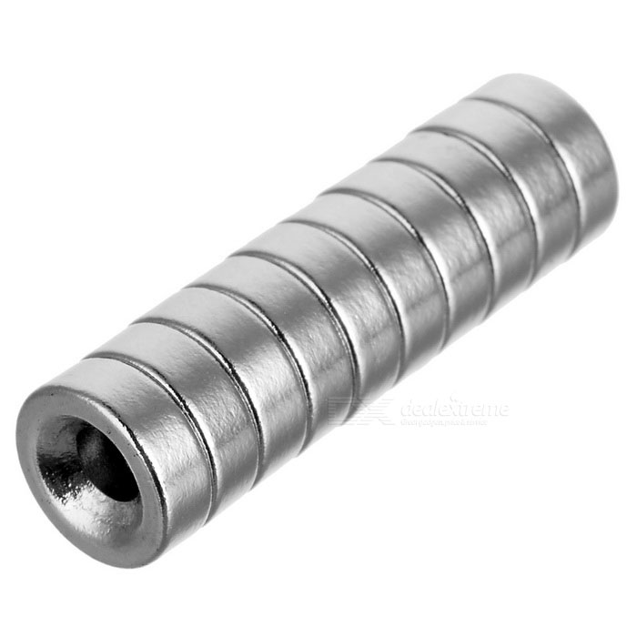 8*3mm Cylindrical NdFeB Magnet w/ Hole - Silver (10PCS)