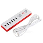 5V 30W USB 2.0 6-Port Fast Charging Charger - White + Red (US Plugs)