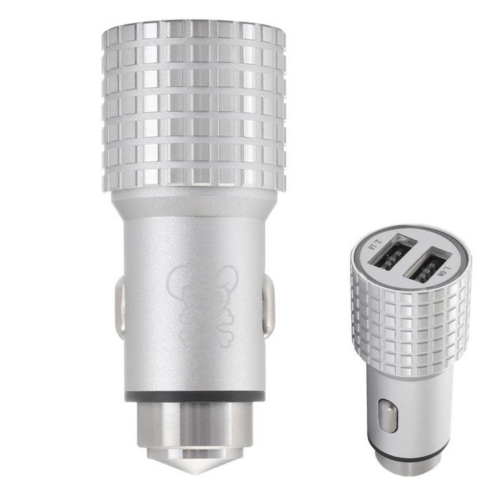 Hat-Prince E4 2-USB Car Charger / Metal Emergency Hammer - Silver