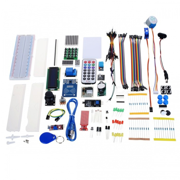 Internet of Things Starter Learning Kit for Arduino / Raspberry PiKits<br>Form ColorColormixModelNOQuantity1 DX.PCM.Model.AttributeModel.UnitMaterialPCB + electronic componentsEnglish Manual / SpecNoPacking List1 * Learning Kit<br>