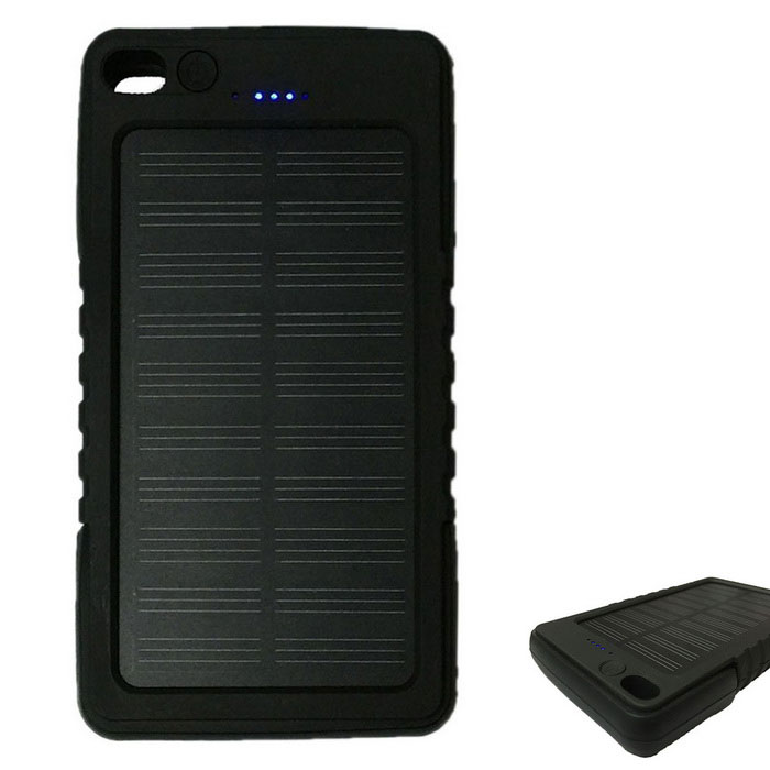8000mAh Solar Recharger Power Bank with Flashlight for Mobile - BlackMobile Power<br>Form ColorBlackModel189Quantity1 DX.PCM.Model.AttributeModel.UnitMaterialPlastic shellShade Of ColorBlackCompatible ModelsIPHONE 6S PLUS,IPHONE 6 PLUS,IPHONE 6S,IPHONE 6,IPHONE 5S,IPHONE 5C,IPHONE 5,IPHONE 4,IPHONE 4S,IPHONE 3GS,IPHONE 3GCompatible TypeUniversalBattery TypeLi-polymer batteryBuilt-in Battery ModelOthers,Li-polymer batteryVoltage5 DX.PCM.Model.AttributeModel.UnitCapacity Range7001mAh~8000mAhNominal Capacity8000 DX.PCM.Model.AttributeModel.UnitBattery Measured Capacity 5000 DX.PCM.Model.AttributeModel.UnitInputInput:5V 1A<br>Solar Charging:5V 200mAOutput interface, output current, output voltageOutput:5V 1ACharging Time4 DX.PCM.Model.AttributeModel.UnitWorking Time3 DX.PCM.Model.AttributeModel.UnitFeaturesLED Indicator,Flashlight,Solar PoweredPacking List1 * Power bank<br>