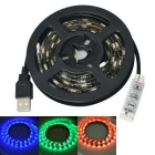 Jiawen USB 12W 60-SMD 5050 RGB LED Waterproof Strip Light - Black (1m)