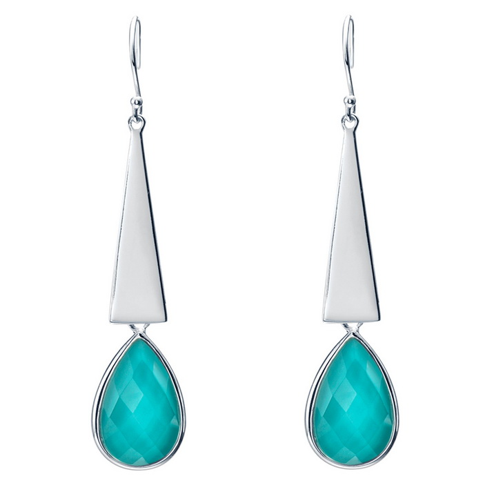 SILVERAGE Maldives Blue Sterling Silver Teardrop Drop Dangle Earrings