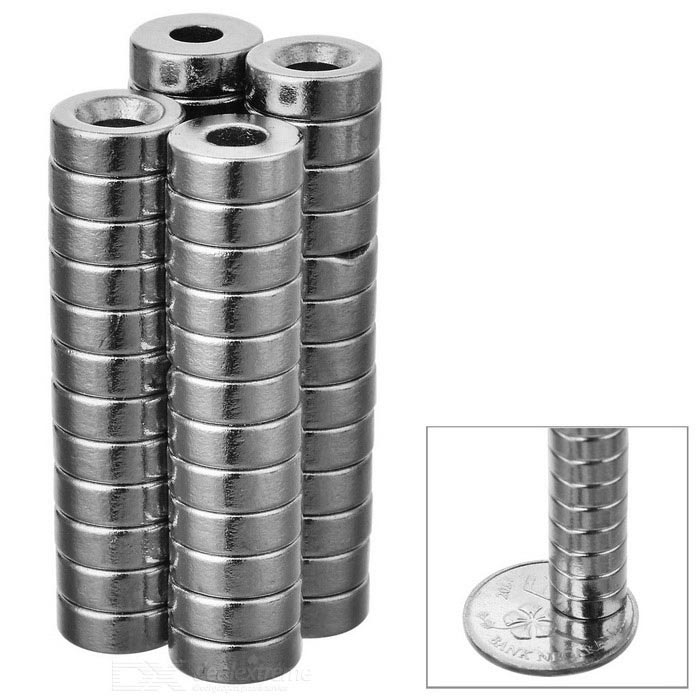 8*3mm Cylindrical NdFeB Magnet w/ Hole - Silver (50PCS)