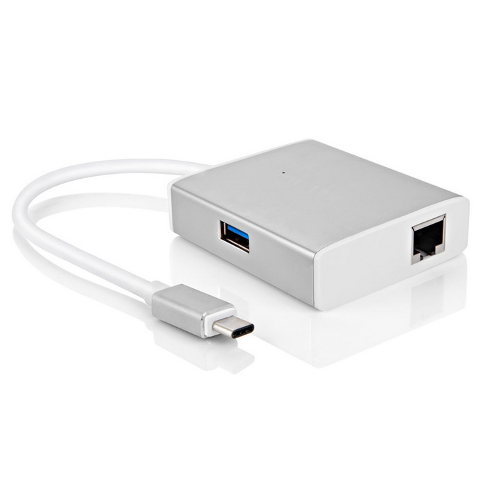 2 * USB 3.0 + тип-C + Gigabit Ethernet HUB - серебро