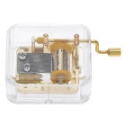 Unique Musical Box Acrylic Hand Crank Movement Melody Music Box - Gold