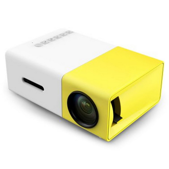 KELIMA YG300 Portable Mini Home 1080p Projector - White + Yellow