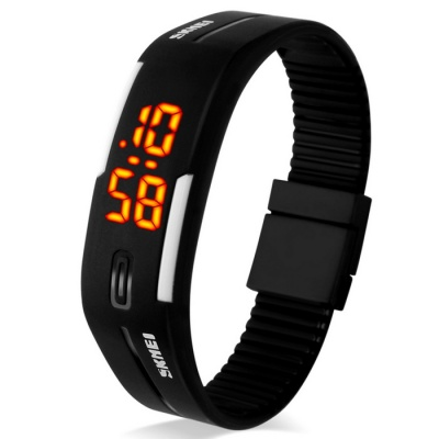 Unisex Lodestone PU Band LED Bracelet Wrist Watch - Black + White