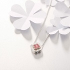 SILVERAGE Four Leaf Clover Pendant Necklace - Silver + Pink