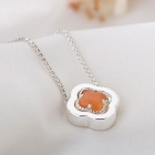 SILVERAGE Four Leaf Clover Pendant Necklace - Silver + Orange