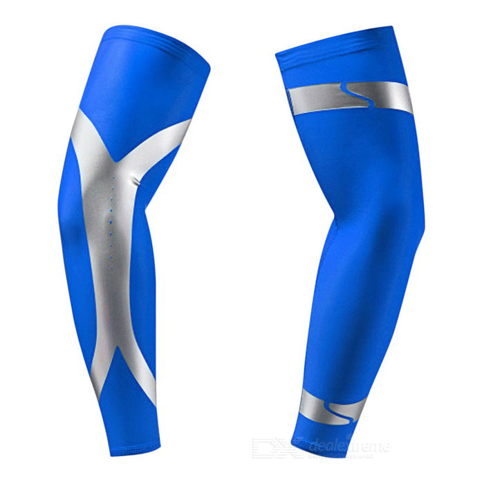 Outdoor Sports Stripe Pattern Arm Protective Sleeve - Blue (XL)