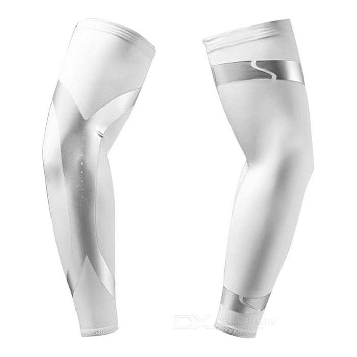 Outdoor Sports Strip Pattern Arm Protective Sleeve - White (XL)