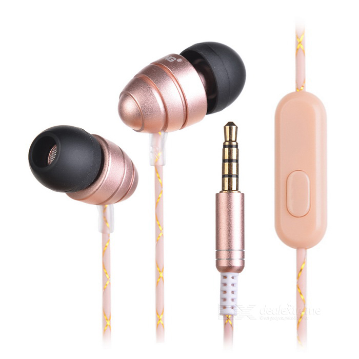 Ovleng ip-340 Universal 3.5mm Plug Wired In-Ear Earphones - Gold