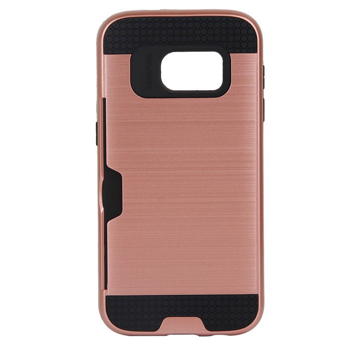 Wiredrawing TPU Phone Back Case w / Card Slots para Samsung Galaxy S7
