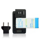 2600mAh Battery + US Plugs Charger + EU Plug for Samsung Galaxy Alpha