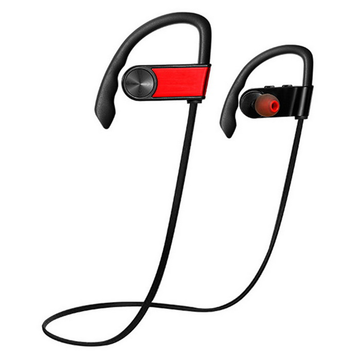 Sport Waterproof Wireless Bluetooth V4.1 Earhook Earphone - RedHeadphones<br>Form  ColorRedMaterialABSQuantity1 DX.PCM.Model.AttributeModel.UnitShade Of ColorRedEar CouplingEar-hookBluetooth VersionOthers,Bluetooth V4.1Operating Range10mRadio TunerNoMicrophoneYesSupports MusicYesConnects Two Phones SimultaneouslyYesApplicable ProductsUniversalTalk Time6~8 DX.PCM.Model.AttributeModel.UnitMusic Play Time6hStandby Time200 DX.PCM.Model.AttributeModel.UnitPower AdapterUSBPacking List1 * Bluetooth earphone1 * USB charging cable (22cm)1 * English user manual 2 * Pairs of ear tips (S / L)<br>