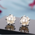 SILVERAGE Women's Flower Style Stud Earrings - Silver (Pair)