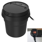 1-to-3 Cup Style Dual USB Car Charger w/ Ashtray - Black