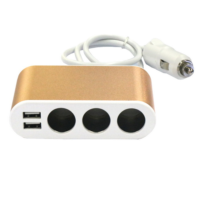 1-to-3 12~24V 120W ABS Car Cigarette Lighter w/ Dual USB - Gold