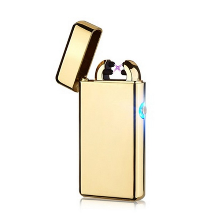 Maikou USB Charging Double Cross Arc Fire Lighter - GoldenOther Lighters<br>Form  ColorGoldenMaterialStainless steel + electronicsQuantity1 DX.PCM.Model.AttributeModel.UnitShade Of ColorGoldTypeUSBFlame ColorPurpleWindproofYesFuelElectronicPower SupplyLithium Ion BatteryCharging Time1~2 DX.PCM.Model.AttributeModel.UnitPacking List1 * Lighter1 * USB cable (20cm)<br>