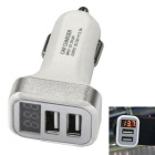 Dual USB 12~24V 3.1A with Display Car Charger - Silver + White
