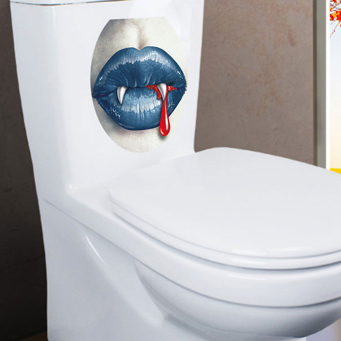 Removable DIY 3D Blue Lips And Sharp Tooth Toilet Decorative Stickers