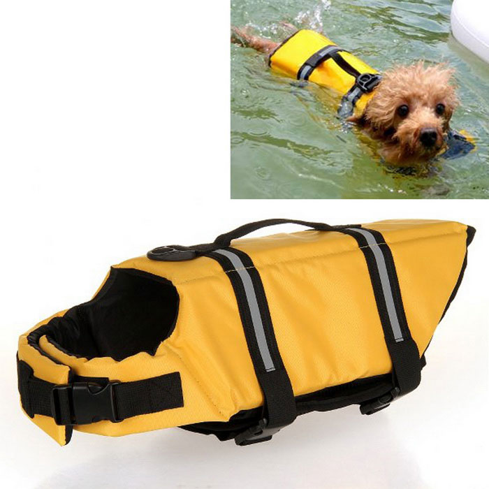 Dog Outdoor Dog Oxford Cloth Swimming Life Jackets - Amarelo (L)