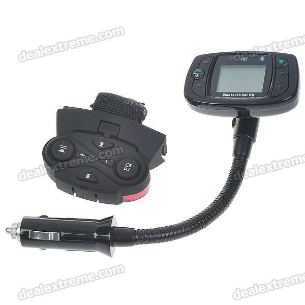 "1.3"" LCD MP3 Player FM Transmitter + Bluetooth Hands-Free with Steering Wheel Mount Control"