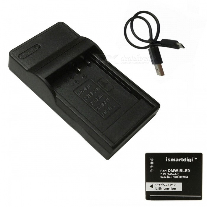 ismartdigi BLE9 Battery + Micro USB Charger for Panasonic - BlackReplacement Batteries<br>Form  ColorBlackModelBLE9+USB C.MaterialPlastic shellQuantity1 DX.PCM.Model.AttributeModel.UnitCompatible BrandPanasonicCompatible ModelsBL-E9 GX7 GF6 GF5Battery Measured Capacity 940 DX.PCM.Model.AttributeModel.UnitMark Capacity940 DX.PCM.Model.AttributeModel.UnitCompatible Battery ModelBL-E9Battery TypeLi-ion batteryDecode Use DirectlyVoltage7.2 DX.PCM.Model.AttributeModel.UnitOther FeaturesMicro USB mobile charger(DC charging and mobile power supply)Packing List1 * Battery 1 * Charger 1 * Micro USB Cable (Length: 30cm)<br>