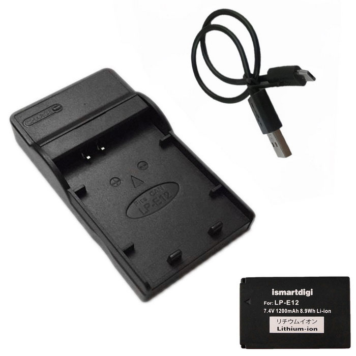 ismartdigi LPE12 Battery + Micro USB Mobile Charger for Canon - Black