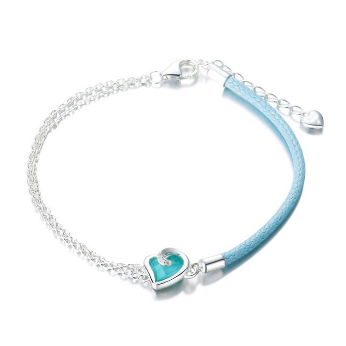 SILVERAGE Maldives Blue Heart Adjustable Wrap Chain Bracelet