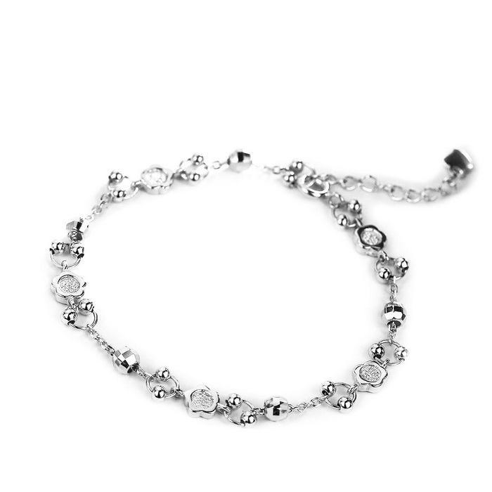 SILVERAGE Flower Bead Adjustable Link Bracelet