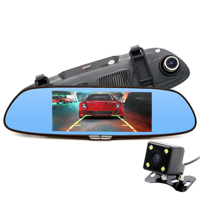 "Junsun 6.5"" Car DVR Dual Lens Full HD 720P Digital Video Recorder"