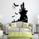 desprendible DIY 3D castillo bate decorativa de PVC etiqueta de la pared - negro