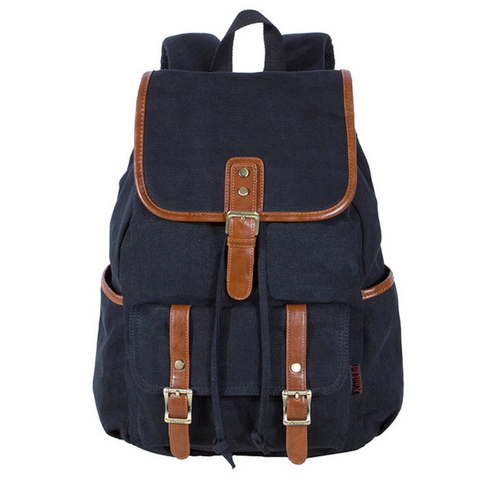 KAUKKO FS227 24L Retro Style Unisex Canvas Travel Backpack - Black