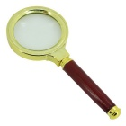 Handheld Wood Handle 60mm 5X Glass Magnifier - Red + Gold