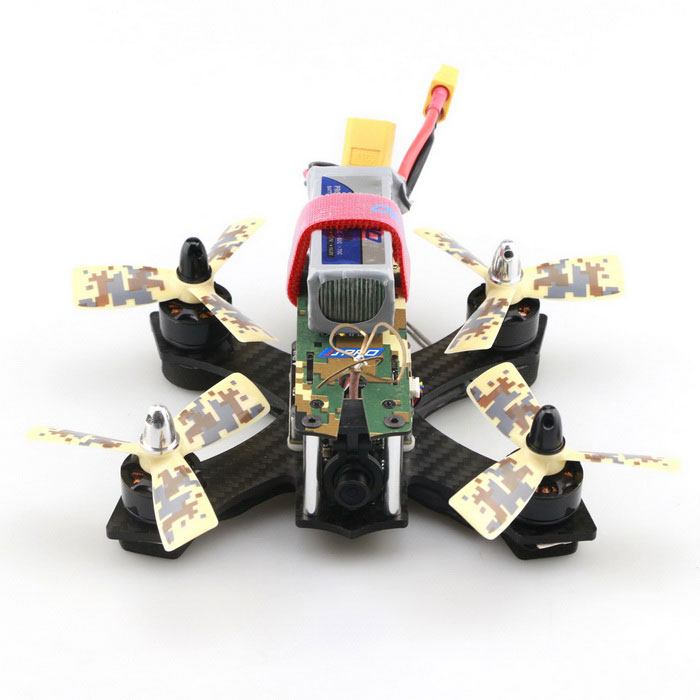 JJRC JJPRO - P130 Battler 130mm RC Racing QuadcopterR/C Airplanes&amp;Quadcopters<br>Form  ColorCamouflage YellowModelJJPRO -P130MaterialAlloyQuantity1 DX.PCM.Model.AttributeModel.UnitShade Of ColorMulti-colorGyroscopeYesChannels Quanlity4 DX.PCM.Model.AttributeModel.UnitFunctionUp,Down,Left,Right,Forward,Backward,Stop,Hovering,Sideward flightRemote TypeRadio ControlRemote control frequencyOthers,5.8GHzRemote Control Range200-30 DX.PCM.Model.AttributeModel.UnitSuitable Age 12-15 years,Grown upsCameraYesCamera PixelOthers,800TVL CameraLamp YesBattery TypeLi-polymer batteryBattery Capacity850 DX.PCM.Model.AttributeModel.UnitCharging Time120 DX.PCM.Model.AttributeModel.UnitWorking Time5 DX.PCM.Model.AttributeModel.UnitRemote Controller Battery TypeAARemote Controller Battery Number4(Not included)Remote Control TypeWirelessModelMode 2 (Left Throttle Hand)CertificationCEOther FeaturesPremium Carbon Fiber Airframe<br>- The dynamic camouflage color breaks the monotony of colors in a racing drone<br>- 3K full carbon fiber frame, extremely light and sturdy<br>- Considerate modular components, easy to maintain and dismantle<br><br>1806 2300KV Motor<br>- The 17g high-torque motor has high-purity copper coil which significantly improves the efficiency<br>- High RPM bearings and rotors perform reliably, generating an amazing thrust of 200 - 350g<br>- Supports 2 - 3S LiPo, maximum current 13A, and 3 inch 3045 three-blade propeller<br><br>Flycolor 12A ESC<br>- Fairy Series 12A ESC for multicopters<br>- Innovative technology of current frequency conversion to drive MOSFET, being smaller, lighter and more efficient<br>- 8 kinds of motor timing ( 0 - 26.25 degree ) are available, offering you various choices of RPM and torque<br>- Original algorithms lead to fast processing speed, smooth and linear motor responses<br>- BLHeli firmware supports Oneshot and upgrades<br>- 12A maximum continuous current, 18A instantaneous current; supports 2 - 4S LiPo<br>- Excellent anti-blocking function<br>- Incorporates 5V 1A BEC and weighs 9.5g<br><br>NAZE32 SP Racing F3 DELUXE Flight Controller <br>- The state-of-the-art flight controller supports Oneshot ESC and more than 8-channel remote control<br>- Capable of running all the I/O ports at the same time<br>- Supports onboard black box flight logging and Oneshot ESCs<br>- With CleanFlight, configurable via a cross-platform GUI ( Windows / OSX / Linux )<br>- Developer-friendly debugging port ( SWD ) and boot mode selection<br>- Mini size, only 35 x 35mm, with a weight of 6g<br><br>5.8G FPV Camera Set<br>Contents: camera, transmitter, antenna, and cable<br>Size: 18 x 16.5 x 8mm ( not including antenna )<br>Weight: 6.8g<br>- Camera<br>Sensor: 1/3 inch CMOS<br>Lens: M8 800TVL<br>FOV: 150 degree wide-angle<br>TV system: NTSC / PAL switchable<br>Voltage supply: 3.6 - 5.5V<br>Channels: 40 ( including RaceBand )<br>- Built-in FPV Transmitter<br>TV system: NTSC / PAL<br>Output power: 25W<br>Operating voltage: 3.6 - 5.5VPacking ListPackage Contents: 1 x Airframe, 4 x Motor, 4 x ESC, 1 x Flight Controller, 1 x PDB, 4 x LED Light, 1 x FPV Camera Set, 1 x Battery Set, 8 x Three-blade Propeller, 1 x Propeller Puller, 1 x Charger<br>