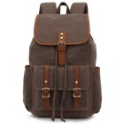 KAUKKO FS227 24L Retro Style Canvas Travel Backpack - Light Coffee