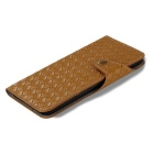 Mesh PU + TPU Flip Leather Case w/ Stand for IPHONE 7 Plus - Brown
