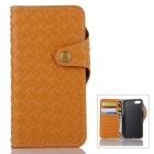 Mesh PU + TPU Flip Leather Case w/ Stand for IPHONE 7 - Light Brown