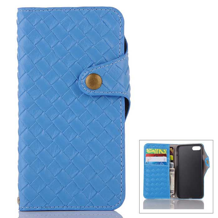 Mesh PU + TPU Flip Wallet Leather Case w/ Stand for IPHONE 7 - Blue