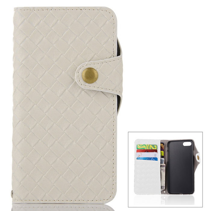 Mesh PU + TPU Flip Wallet Leather Case w/ Stand for IPHONE 7 - White