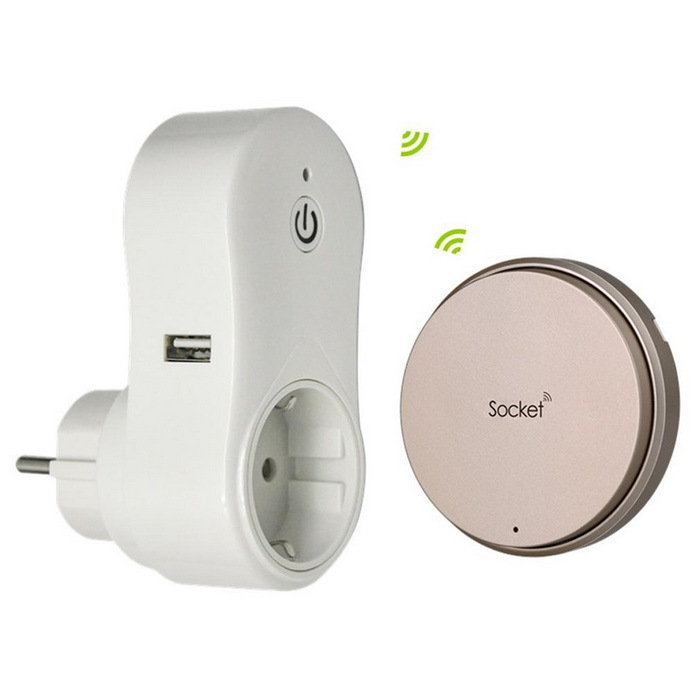 Battery-free Wireless Smart Socket Outlet EU Plug With USB Charger
