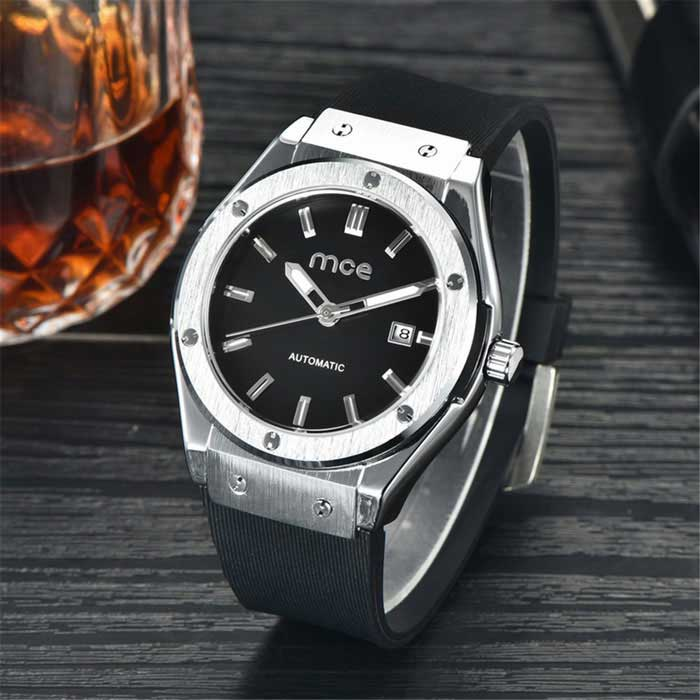 MCE High-end Fully Automatic Mechanical Watch w/ Calendar - Black BandMechanical Watches<br>Form  ColorBlackModel01-0060229Quantity1 DX.PCM.Model.AttributeModel.UnitShade Of ColorBlackCasing MaterialAlloyWristband MaterialSiliconeSuitable forAdultsGenderUnisexStyleWrist WatchTypeFashion watchesDisplayAnalogBacklightNoMovementMechanicalDisplay Format12 hour formatWater ResistantFor daily wear. Suitable for everyday use. Wearable while water is being splashed but not under any pressure.Dial Diameter4.2 DX.PCM.Model.AttributeModel.UnitDial Thickness1.5 DX.PCM.Model.AttributeModel.UnitWristband Length16 DX.PCM.Model.AttributeModel.UnitBand Width2 DX.PCM.Model.AttributeModel.UnitBatteryNoPacking List1 * Watch1 * Box<br>