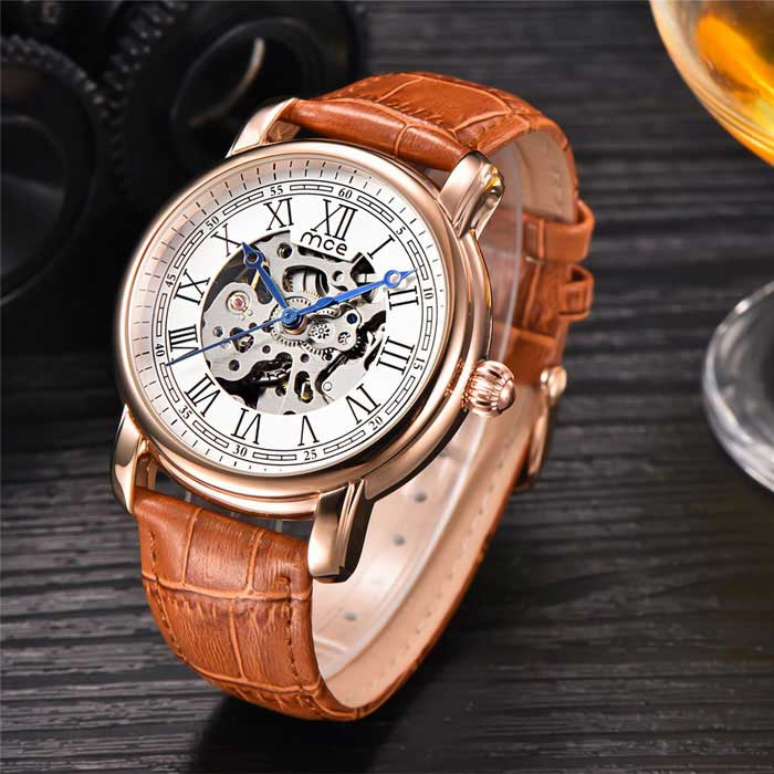MCE High-grade Watches Fully Automatic Mechanical Watch - Brown +WhiteMechanical Watches<br>Form  ColorBrown + WhiteModel01-0060159Quantity1 DX.PCM.Model.AttributeModel.UnitShade Of ColorBrownCasing MaterialAlloyWristband MaterialGenuine leatherSuitable forAdultsGenderUnisexStyleWrist WatchTypeFashion watchesDisplayAnalogBacklightnoMovementMechanicalDisplay Format12 hour formatWater ResistantFor daily wear. Suitable for everyday use. Wearable while water is being splashed but not under any pressure.Dial Diameter4.2 DX.PCM.Model.AttributeModel.UnitDial Thickness1.5 DX.PCM.Model.AttributeModel.UnitWristband Length20 DX.PCM.Model.AttributeModel.UnitBand Width2 DX.PCM.Model.AttributeModel.UnitBatteryNoPacking List1 * Watch1 * Box<br>