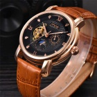 MCE Tourbillon Fully Automatic Mechanical Watch - Brown + Black