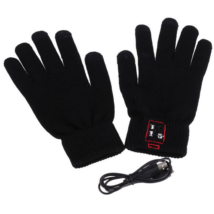 Intelligent Bluetooth Hands-free Touch Warm Gloves - Black (Pair)