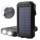 12000mAh Solar Power Bank w/ Dual USB 2.0, Compass, Flashlight - Black